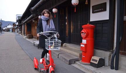 騎著和服腳踏車,在川原町老街上拍照打卡