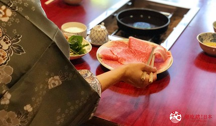 日本三重頂級松阪和牛燒肉、壽喜燒推薦「肉料理まつむら」松阪牛壽喜燒料理中