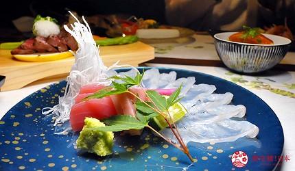 名古屋車站必吃和牛與松葉蟹涮涮鍋「割烹 宮坂」的套餐「松葉蟹與和牛的茶懷石」(ズワイガニと和牛の茶懐石)的生魚片