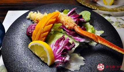 名古屋車站必吃和牛與松葉蟹涮涮鍋「割烹 宮坂」的套餐「松葉蟹與和牛的茶懷石」(ズワイガニと和牛の茶懐石)的沙拉