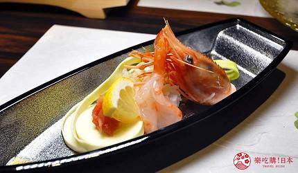 名古屋車站必吃和牛與松葉蟹涮涮鍋「割烹 宮坂」的套餐「松葉蟹與和牛的茶懷石」(ズワイガニと和牛の茶懐石)的牡丹蝦