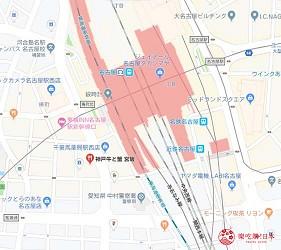 名古屋車站必吃和牛與松葉蟹涮涮鍋「割烹 宮坂」位在名古屋車站西口的地圖