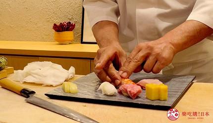 名古屋车站必吃江户前寿司名店「鮨 さわ田」的寿司师傅捏寿司中