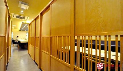 名古屋车站必吃江户前寿司名店「鮨 さわ田」的包厢用餐区