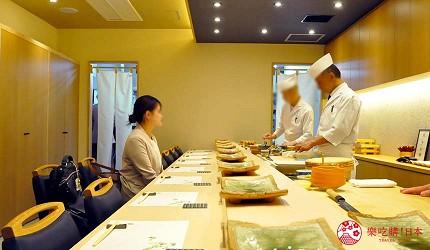 名古屋车站必吃江户前寿司名店「鮨 さわ田」的吧台用餐区